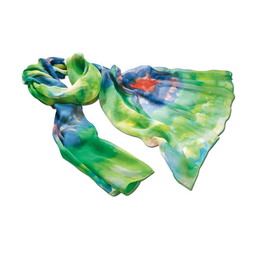 "Watercolour Silk Scarf Summer's most beautiful colours – immortalised in delicate silk. A generous 6ft5"" long. A slight 0.8 ounces."