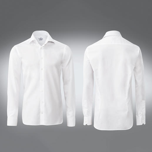 Slim Fit, single button cuffs, White