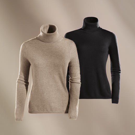 Polo Neck, Beige Heather and Black