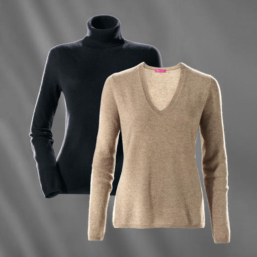 Polo Neck, Black and V-Jumper, Beige Heather