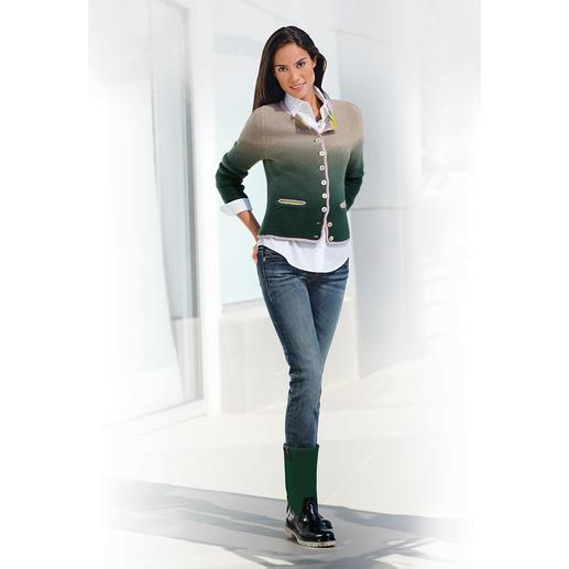 My Herzallerliebst Cashmere Janker Jacket, Dark Green/Beige My Herzallerliebst transforms traditional Bavarian attire into high fashion. Slimmer. Lighter. Softer.