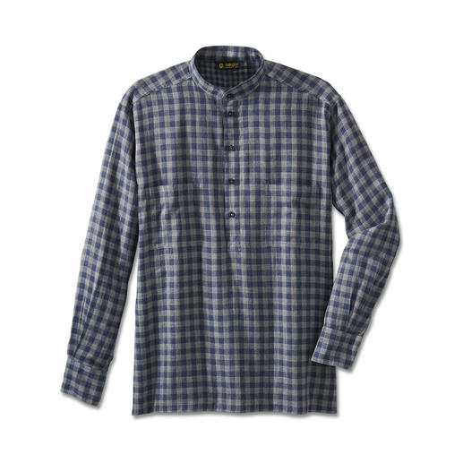 Nehru Double Layer Flannel Shirt New: Double layered flannel that's really warm. Classic stand-up collar design.