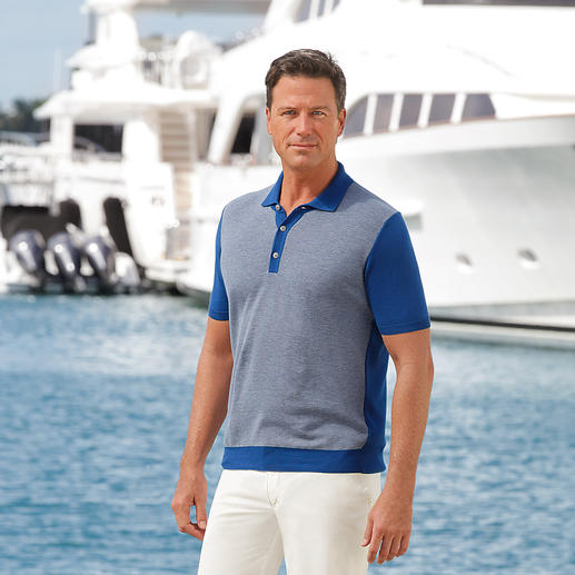 Ferrante Piqué Knitted Polo Your most elegant polo is made of bi-coloured knit piqué. Finest Egyptian cotton.