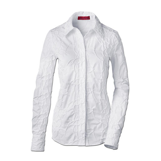 Embroidered Cambric Blouse, White Never iron it – please!