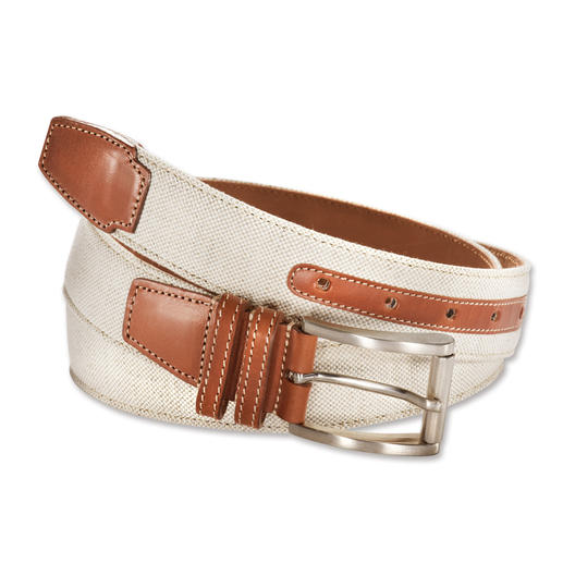 Italian Linen/Leather Belt Summery light. Stylish. Sturdy : The linen belt with a leather lining.