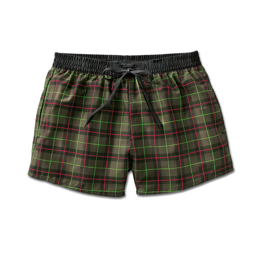 QuickDry Bathing Shorts, checked Quick drying gentlemen's bathing shorts – in a contemporary check pattern.