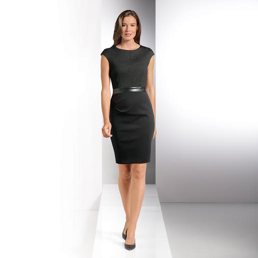 24-hour LBD Interesting and versatile: The textured little black dress. A fresh take with new fabrics.
