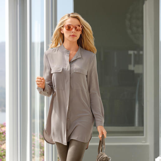 Barbara Schwarzer Silk Long Blouse Real silk instead of synthetic fibres: A luxurious version of the fashionable long blouse. By BarbaraSchwarzer,
