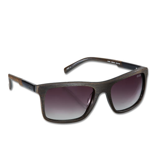 "Guess ""Faux Wood"" Sunglasses Classy and trendy: The look of wood with a matt finish instead of shiny plastic."