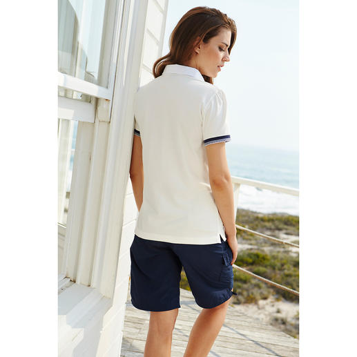 Pima Cotton Ruched Pique Polo The feminine polo shirt with ruched button panel and Peter Pan collar.