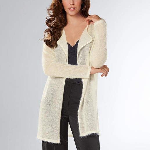 Carbery Cobweb Long Cardigan Probably the lightest long cardigan you'll ever own at just 3.2 oz. Super-fine cobweb knit with fluffy mohair.