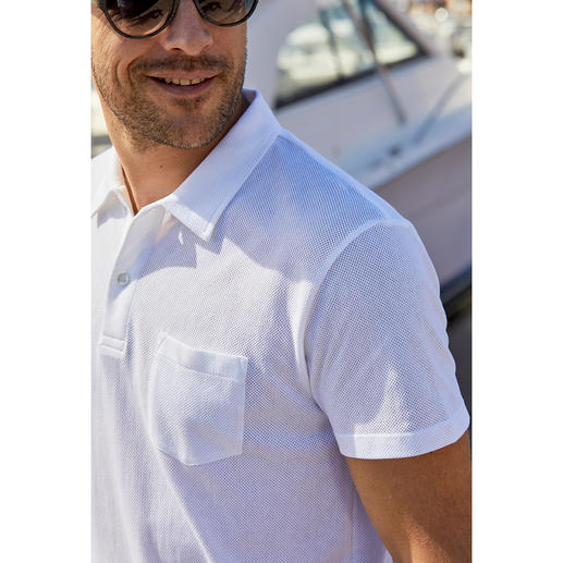 Mesh Polo Shirt Ultra lightweight, airy mesh knit that's nevertheless opaque. Mesh polo shirt made of pure cotton. By Sunspel, England.