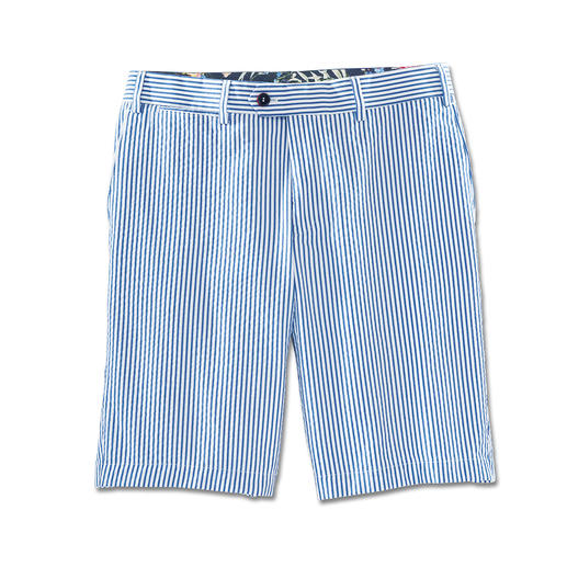 Hiltl Seersucker Bermuda Shorts, Blue/White - Twice as airy. Ultra stylish: Seersucker bermuda shorts in nautical style.