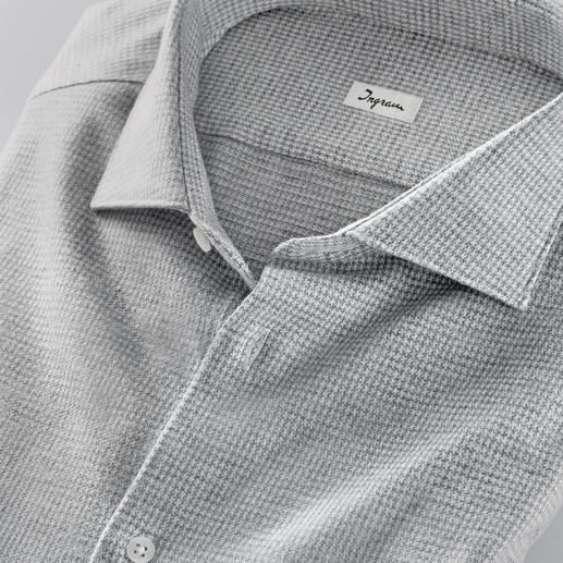 Ingram Jersey Houndstooth Shirt The comfort of a T-shirt. The softness of a flannel shirt. And the elegance of a dress shirt.