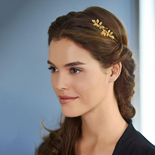 Avigail Adam Goddess Crown - Trendy hair accessory – and versatile styling aid. 24ct gold plated. Flowers and leaves hammered by hand.
