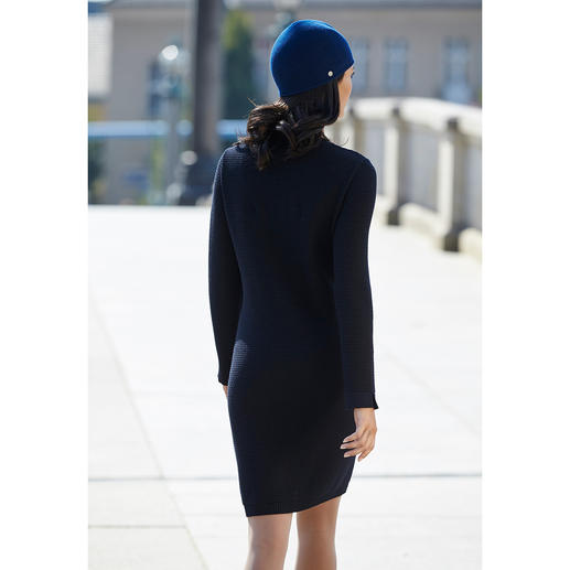 "Saint James ""Maille Damier"" Knitted Dress Rich deep blue colour. Silky, shimmering merino wool. Eye-catching pattern."