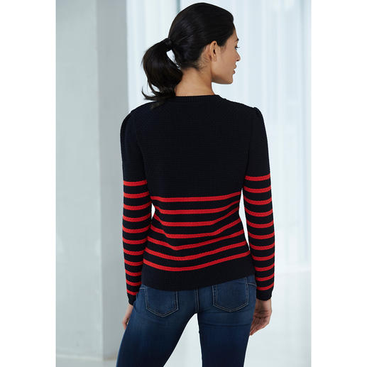 "Saint James Striped Pullover ""Maille Damier"" The pattern of traditional sailors' pullovers can look so modern. By Saint James, France."