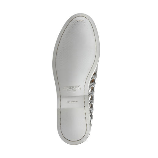 """Sperry Top-Sider """"Lady"""" The sides are open and airy. Weight 224g (7.9 oz). Light grey with stylish, silver coloured laces."""