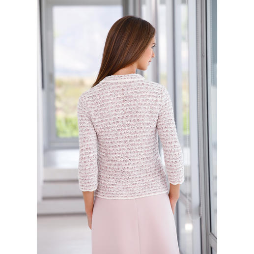 ANNECLAIRE Bouclé Cardigan, Cream/Pastel Pink/Light Grey Knitted instead of woven. Made of lightweight cotton blend.
