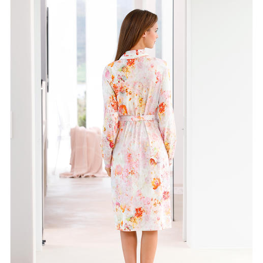 """Charmor Dressing Gown """"Floral Beauty"""" Uniquely stylish and yet surprisingly uncomplicated. Made from soft, comfortable cotton and modal."""