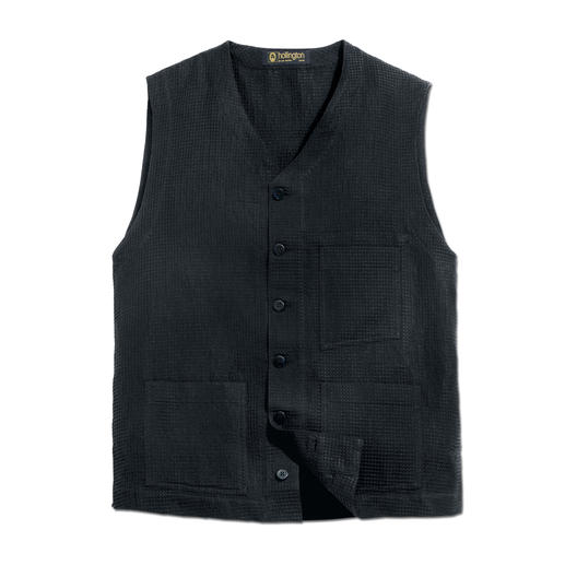Hollington Waffle Piqué Waistcoat They are still here: Stylish black waistcoats, it will keep you cool through the summer. By Patric Hollington.