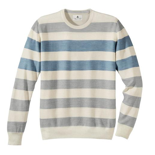 Stereo-System® Striped Pullover The fine merino wool striped pullover that never scratches. Stereo-System® knitting with cotton interior.