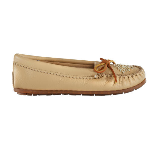 Minnetonka® Deerskin Leather Beaded Moccasins Like walking on moss. Fashioned into an authentic moccasin according to ancient Native American tradition.