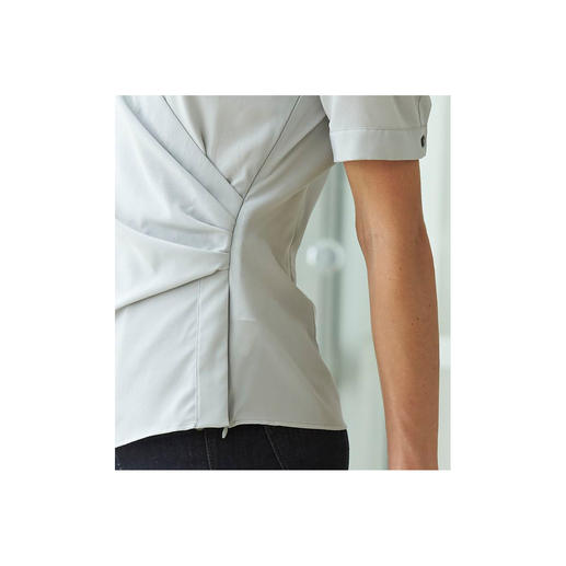 van Laack Stretch Silk Wrap-Over Blouse A premium silk blouse is stretchy, a premium wrap-over blouse stays in place.