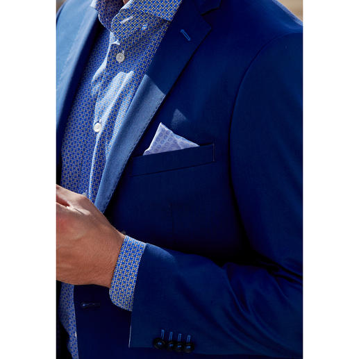 "Carl Gross Cotton Suit ""Ceramica"", Blue The ideal suit for business and travelling, made from summery cotton that barely creases."