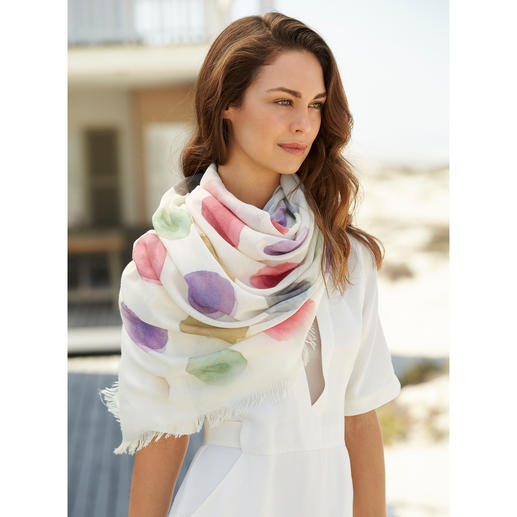 "Ancini ""Aquarell"" Dotted Scarf Six exquisite aquarelle shades. Generous size. Durable material."