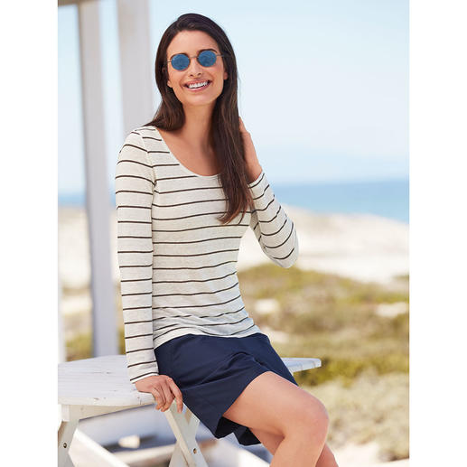 Knitted Linen Striped Long-Sleeved or Short-Sleeved Top Comfortably cool and dry on hot days.