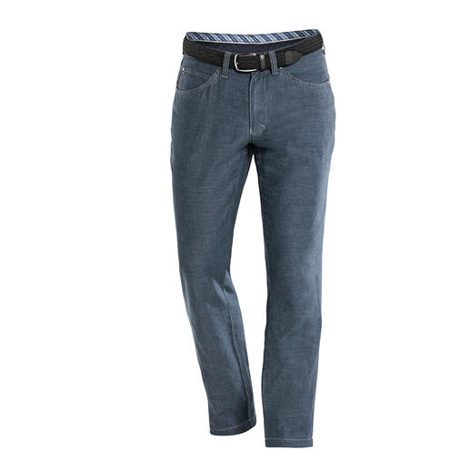 Linen/Cotton Five-Pocket Trousers Airy linen and cotton trousers with the shapely fit of jeans. They're shape-retaining, low-crease and opaque.