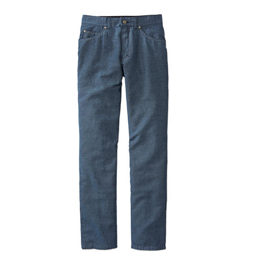 Linen/Cotton Five-Pocket Trousers Airy linen trousers with the shapely fit of jeans. They're shape-retaining, low-crease and opaque.