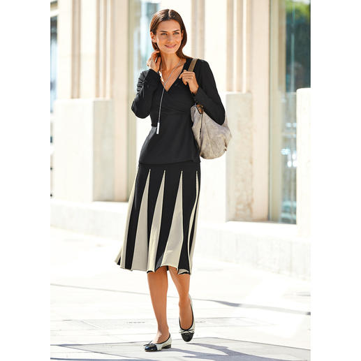 Twin-Set Knit Godet Skirt Comfortable flattering knitted skirt with godet pleats.
