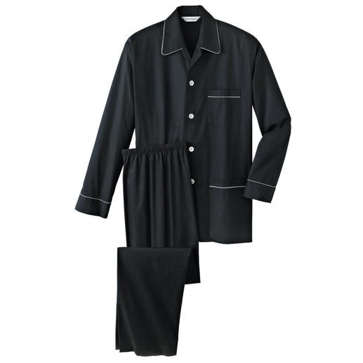 "Gents' Pyjamas ""Black Satin"" The sophisticated, black suit to wear at night."