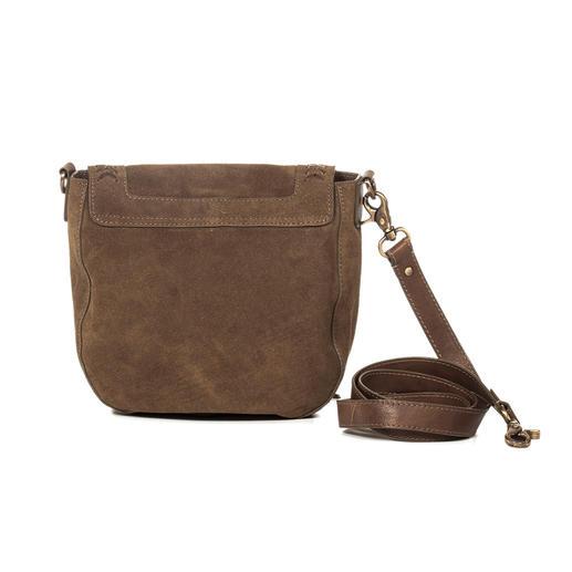 Anokhi Ethnic Saddle Bag This bag from Anokhi has five fashionable elements. Ethnic style. Tassels. Suede. Olive. Braiding.