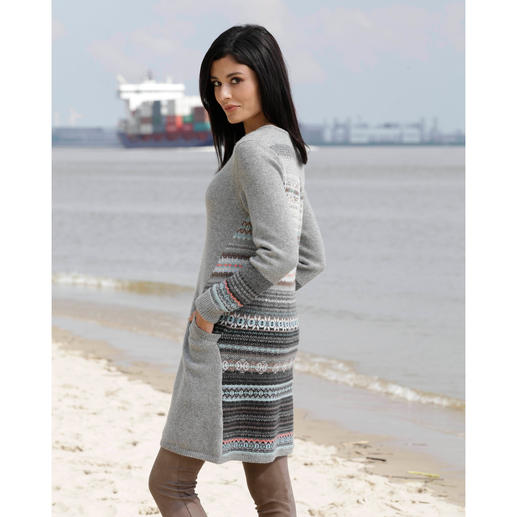 Eribé Fair Isle Knitted Dress Partially patterned insert. Pastel colours. Flattering style.