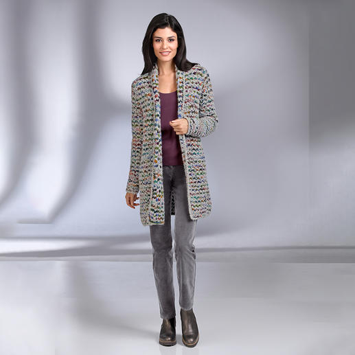 Kero Design Hand-knitted Long Cardigan Multicolour Hand-dyed and hand-knitted multicoloured long cardigan that goes with every­thing. By Kero Design.