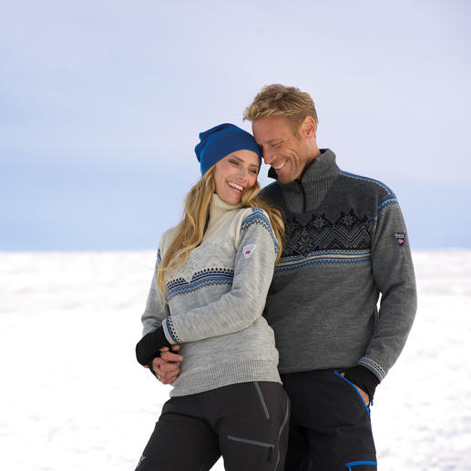 "Norwegian Pullover ""Glittertind"" for women or men Developed for an expedition to the South Pole: Water-repellent, windproof and breathable."