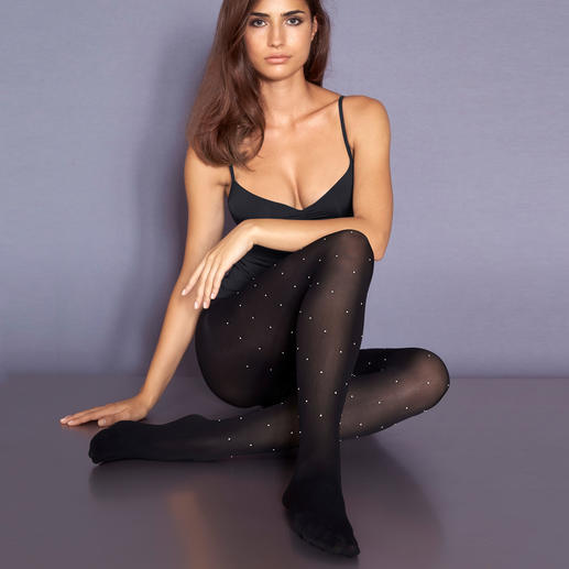 La Perla Pearl Tights Elegant and unusual black tights. Featuring Swarovski® beads all-over.