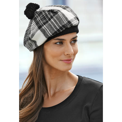 Lochcarron Scottish Cap, Black/White - Traditional Stewart Dress tartan. Pure lamb's wool. Made in Scotland.