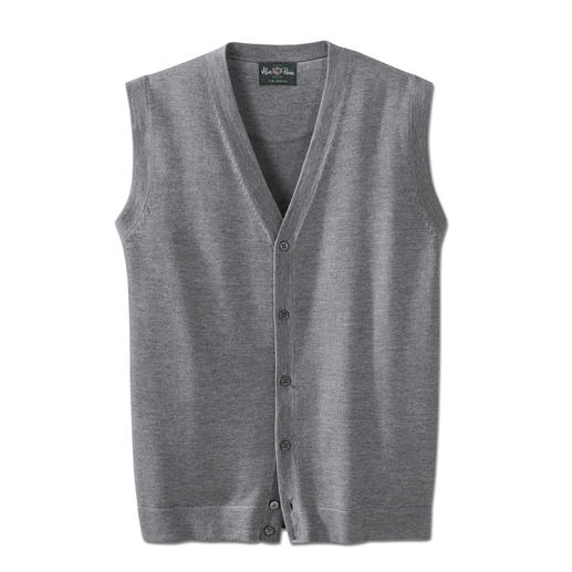 "Alan Paine ""Wash & Dry"" Knitted Merino Waistcoat A knitted merino wool waistcoat that's machine washable and suitable for tumble drying."