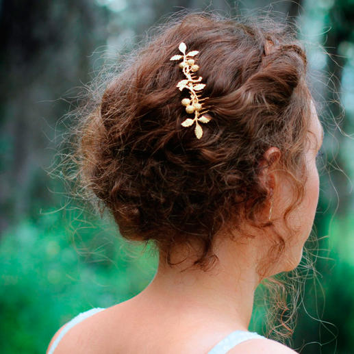 Avigail Adam Hair Comb or Goddess Crown Trendy hair accessory – and versatile styling aid. 24ct gold plated. Flowers and leaves hammered by hand.