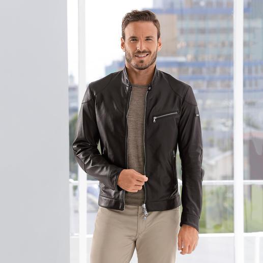 Hackett Nappa Lambskin Reversible Jacket Leather biker jacket or casual blouson? Both! Luxurious nappa lambskin reversible jacket by Hackett, London.