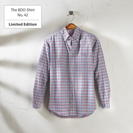 The BDO-Shirt No. 42, checked Meet a good old friend. And forget that shirts always need ironing.