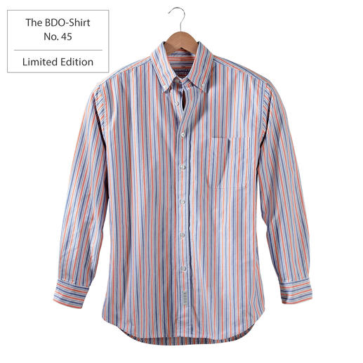 The BDO-Shirt No. 45, Striped Meet a good old friend. And forget that shirts always need ironing.