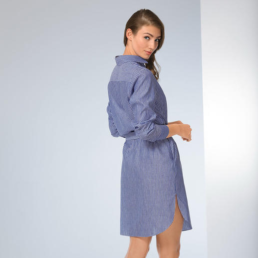 van Laack Shirt Style Dress - Three classical elements in one dress: Shirt style shape, blue/white stripes, van Laack's proven cut.