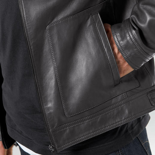 Lagerfeld Leather Jacket Leather jacket. Lambskin nappa. By Lagerfeld. Stylish and fashionably distinguished. Soft and light.