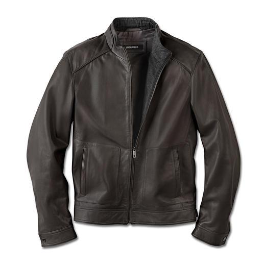 Lagerfeld Leather Jacket Leather jacket. Lambskin nappa. By Lagerfeld. Stylish and fashionably distinguished. Soft and light.