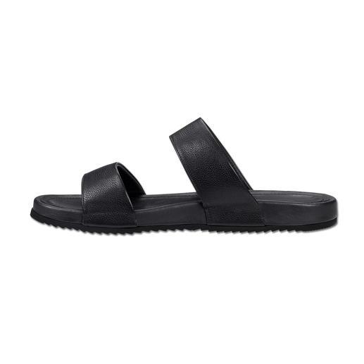 Lagerfeld Calfskin Leather Sandals The stylish way to wear sandals. Clean Lagerfeld design. Sleek black. Elegant calfskin leather.